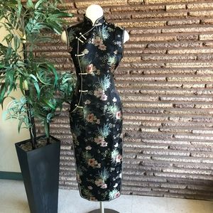 Vtg Chinese Black Floral Cheongsam Quipao Dress